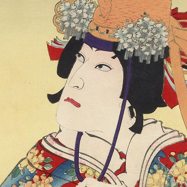 Ichikawa Danjuro IX as Musume Dojoji by Kunichika (1835 - 1900)