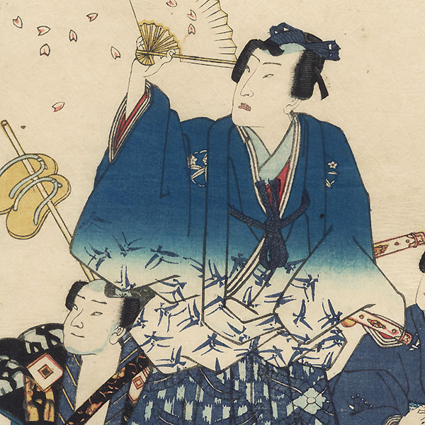 Prince Genji with Falling Cherry Blossom Petals by Fusatane (active 1854 - 1888)