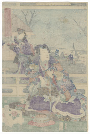 Prince Genji in a Plum Garden in Spring, 1865 by Kunichika (1835 - 1900)