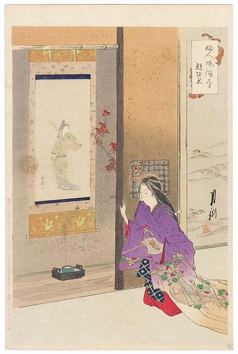 Beauty beside an Alcove with a Scroll by Gekko (1859 - 1920)