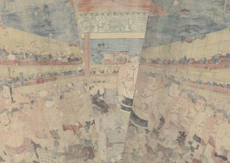 Sumo Wrestling Arena, 1847 -1852 by Toyokuni III/Kunisada (1786 - 1864)
