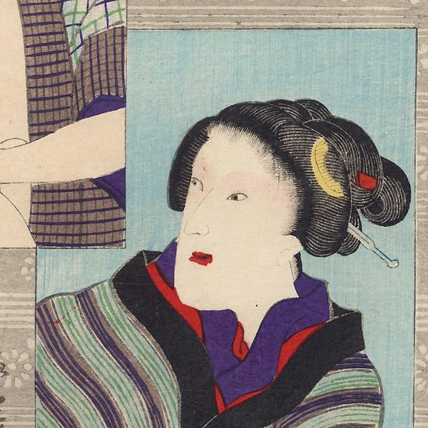 Onoe Kikugoro V in Three Roles by Yoshiiku (1833 - 1904)