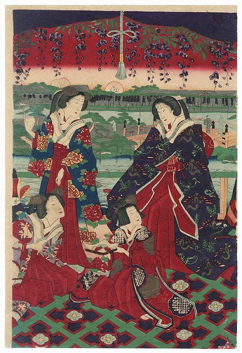 Beauties under Wisteria by Meiji era artist (unsigned)