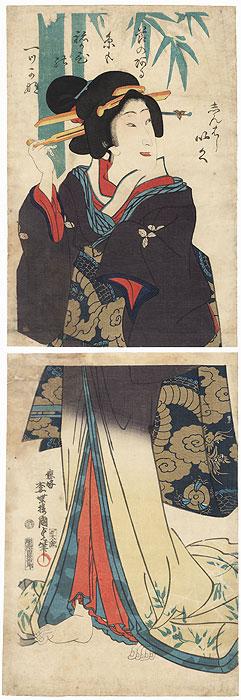 Beauty with a Dragon Obi Kakemono by Kunisada II (1823 - 1880)