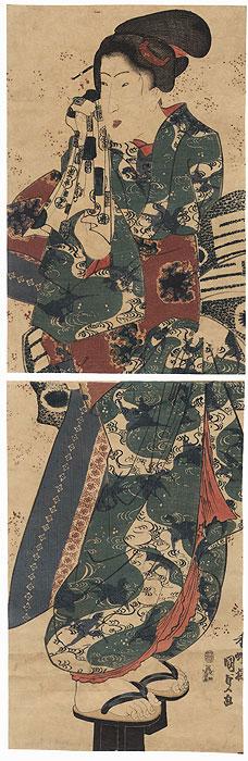 Beauty Returning from the Bath Kakemono, 1843 - 1845 by Toyokuni III/Kunisada (1786 - 1864)