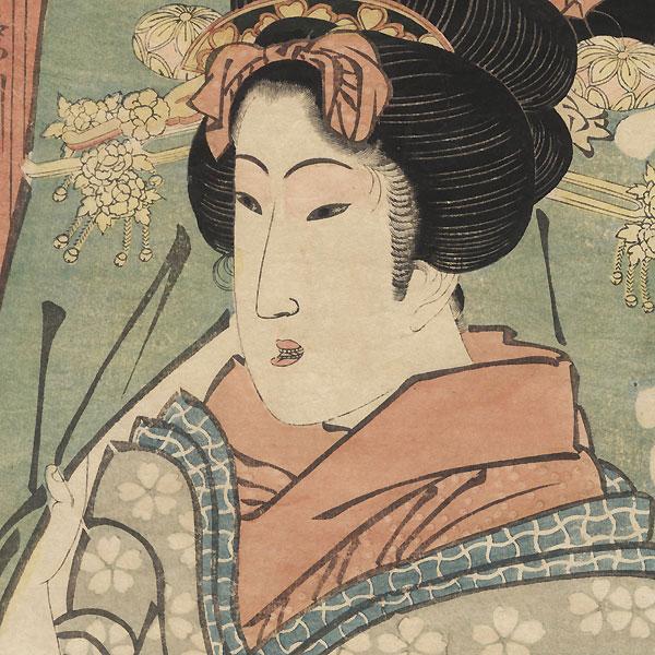 Beauty in a Doorway Kakemono by Eizan (1787 - 1867)