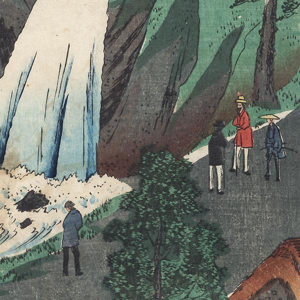 Juniso Waterfall by Hiroshige II (1826 - 1869)