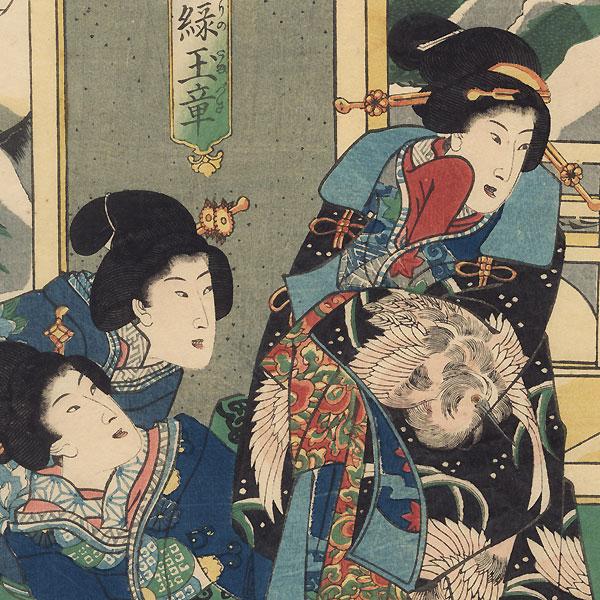 Beauty in a Heron Coat, 1861 by Yoshiiku (1833 - 1904)