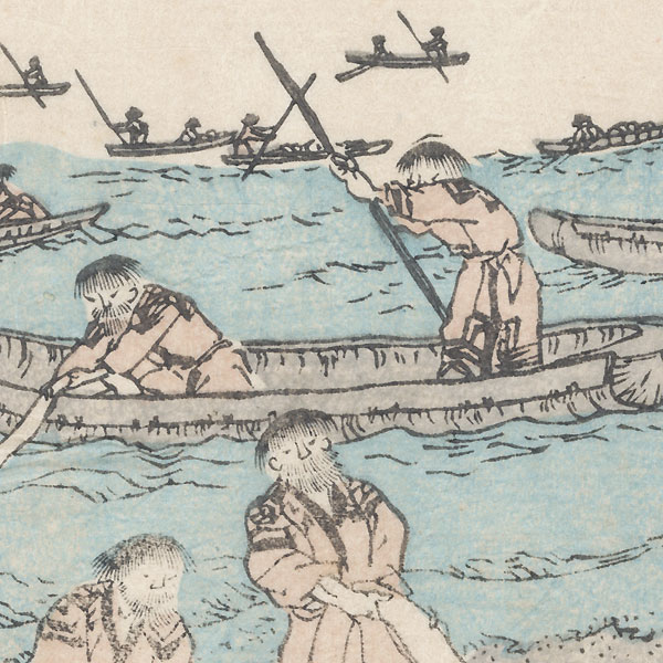 Ainu People Harvesting and Drying Kelp, 1872 by Meiji era artist (unsigned)