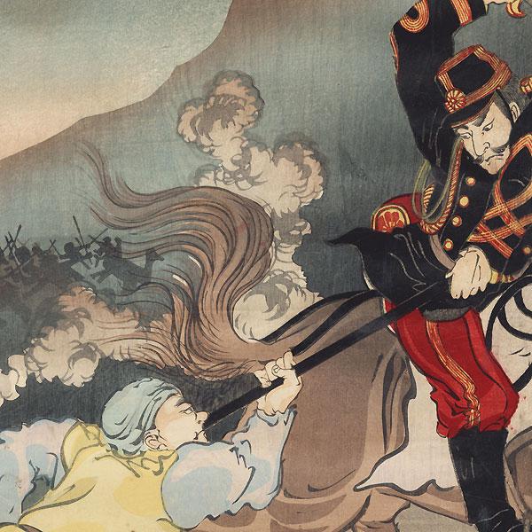 A Japanese Soldier Taking the Enemy Flag at Asan, 1894 by Kokunimasa (1874 - 1944)