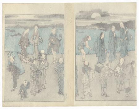 Evening Stroll by Hokusai (1760 - 1849)