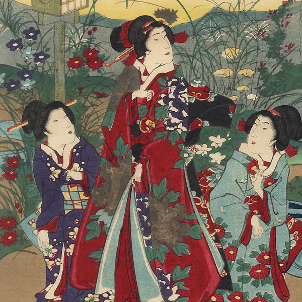 Variety of Flowering Plants at the Height of Autumn, 1879 by Chikanobu (1838 - 1912)