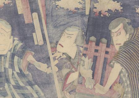 Threatening a Commoner at a Shrine, 1883 by Kunichika (1835 - 1900)