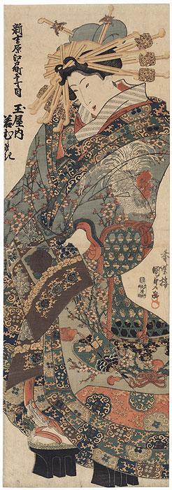 Courtesan in a Rooster Kimono Kakemono by Toyokuni III/Kunisada (1786 - 1864)