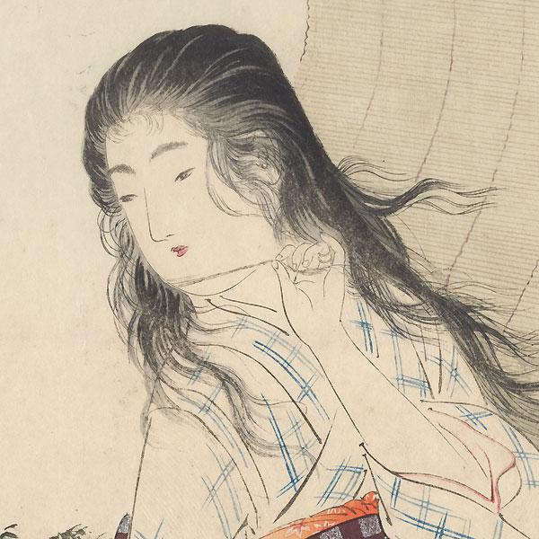 Iyo Blind Kuchi-e Print, 1906 by Toshikata (1866 - 1908)