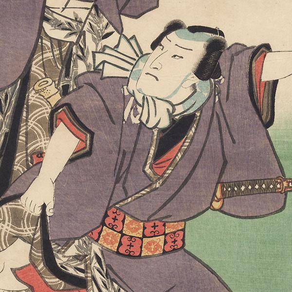 Kaminari Shokuro and Gokuin Senemon, 1857 by Toyokuni III/Kunisada (1786 - 1864)