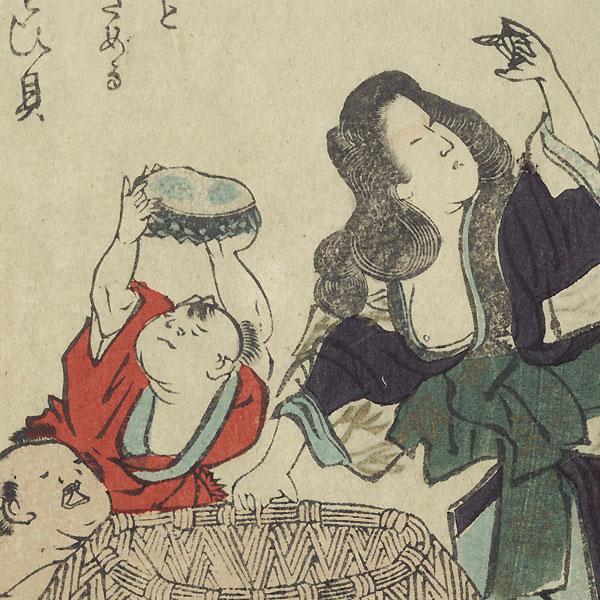 Women and Children Gathering Abalone into a Basket by Shinsai (circa 1764 - 1823)