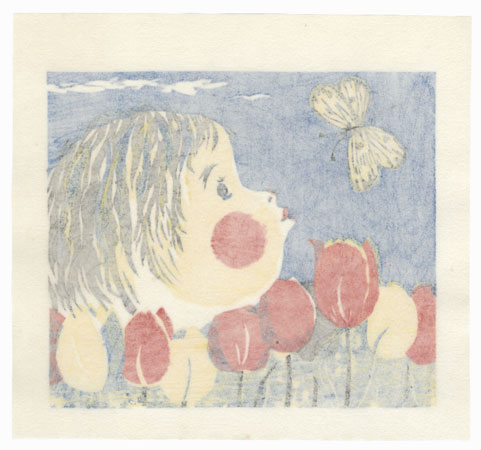 Child, Tulips, and Butterfly, 1974 by Fumio Fujita (born 1933)
