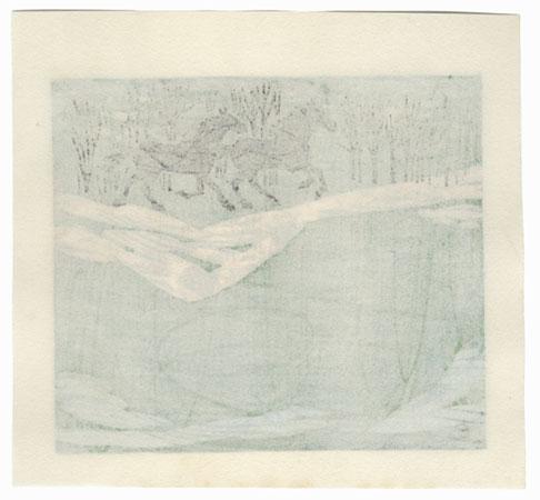 Two Horses Galloping in Spring, 1974 by Fumio Fujita (born 1933)