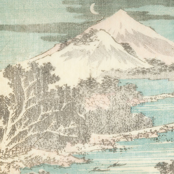 Landscape with Crescent Moon by Hokusai (1760 - 1849)