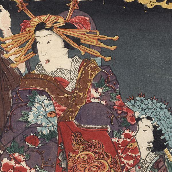 Courtesan and Kamuro, 1858 by Toyokuni III/Kunisada (1786 - 1864)