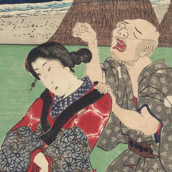 Okitsu: Kiyomigaseki, Kiyomi-dera Temple, and Tago Bay by Hiroshige (1797 - 1858) and Toyokuni III/Kunisada (1786 - 1864)