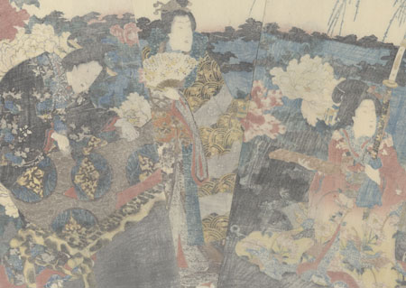 Visiting the Peony Garden, 1847 - 1852 by Toyokuni III/Kunisada (1786 - 1864)