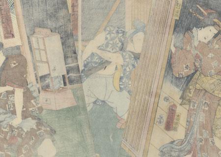 Beauty Paying a Visit by Kunichika (1835 - 1900)