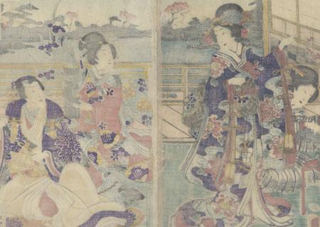 The Shining Prince Arranging Flowers, 1862 by Kunisada II (1829 - 1874)