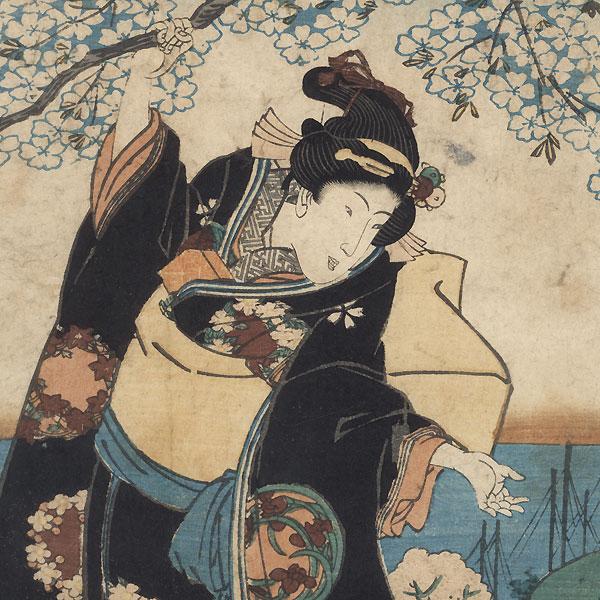 Beauties Viewing Cherry Blossoms by Toyokuni III/Kunisada (1786 - 1864)