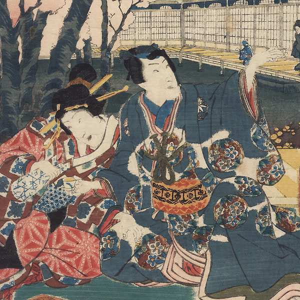 A Parody of the Hana no en Chapter in Genji, 1855 by Toyokuni III/Kunisada (1786 - 1864)