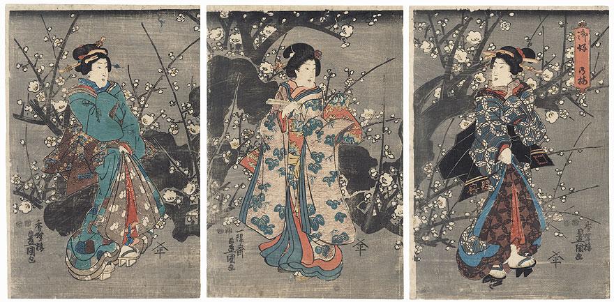 Plum Blossoms at Night, the Way You Like Them, 1847 - 1852 by Toyokuni III/Kunisada (1786 - 1864)
