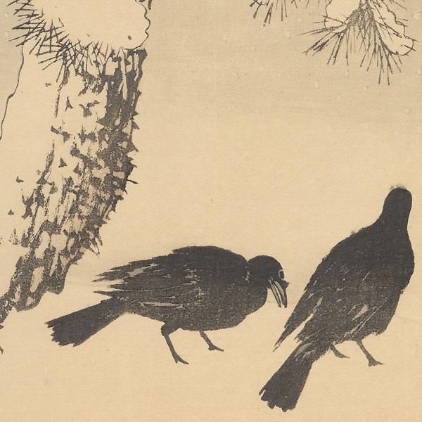 Oban diptych original - Winter Group, 1891 by Imao Keinen (1845 - 1924)