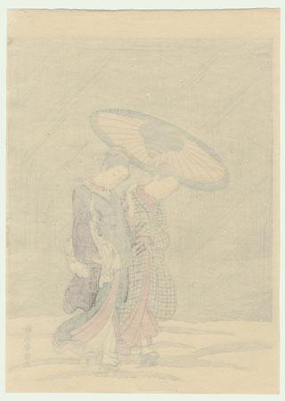 Returning from the Bath by Harunobu (1724 - 1770)