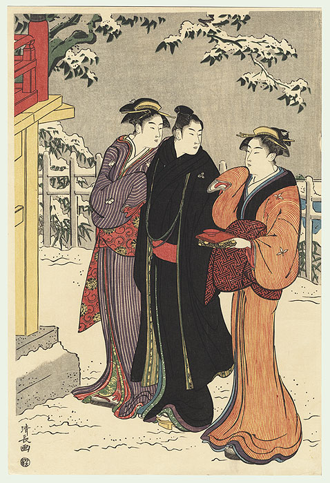 Winter Stroll by Kiyonaga (1752 - 1815)