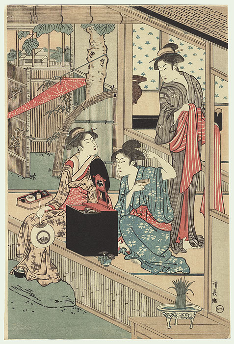Beauties on a Veranda by Kiyonaga (1752 - 1815)