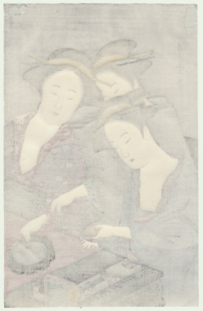 Beauties Mixing Ink by Utamaro (1750 - 1806)