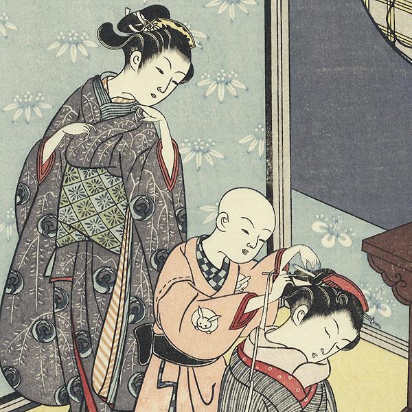Night Rain of the Tea Stand by Harunobu (1724 - 1770)