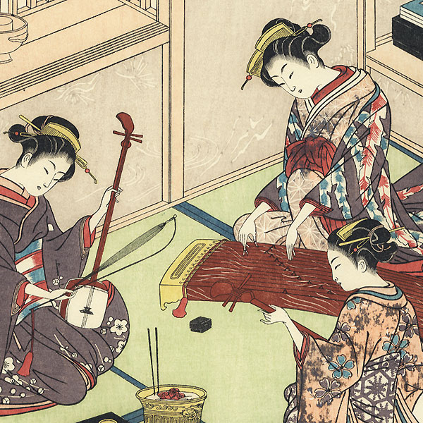 Geisha Practicing by Toyoharu (1735 - 1814)