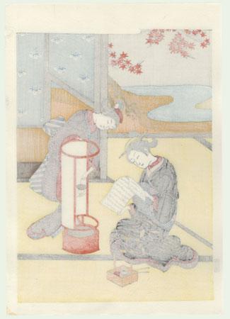 Sunset Glow of the Lamp  by Harunobu (1724 - 1770)