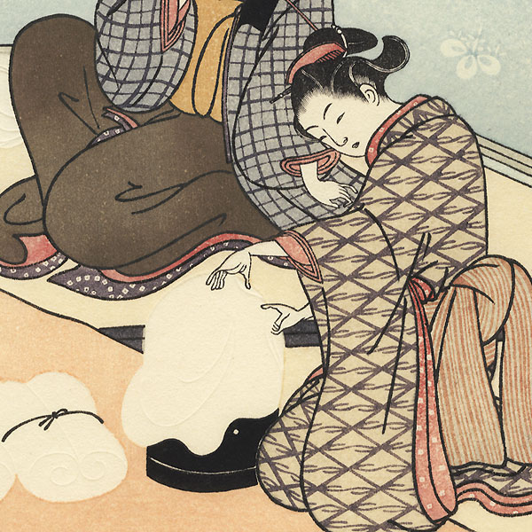 Twilight Snow of the Floss-stretching Form  by Harunobu (1724 - 1770)