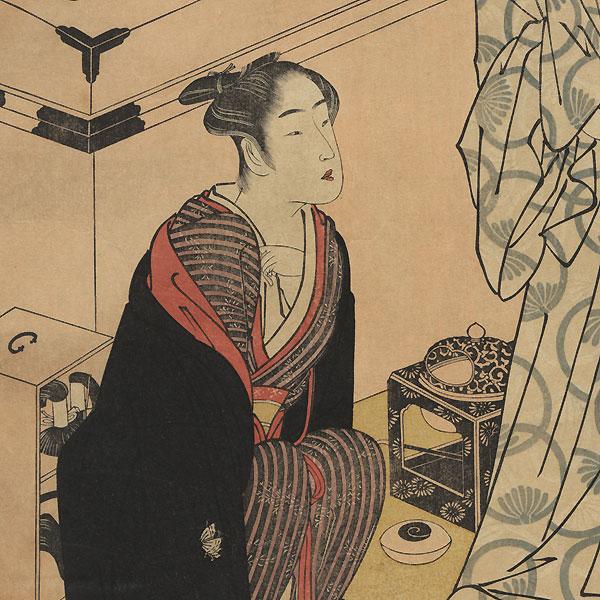 Sawamura Sojuro III in His Dressing Room with Segawa Kikunojo III by Shunsho (1726 - 1792)