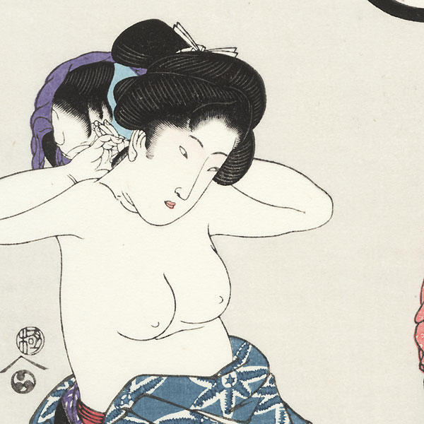 Beauty Applying Makeup to her Neck by Toyokuni III/Kunisada (1786 - 1864)