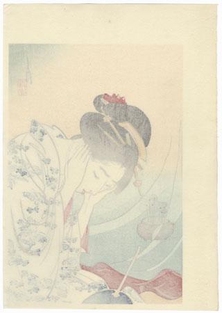 First Thunder Kuchi-e Print by Gekko (1859 - 1920)