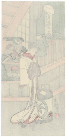 The Courtesan Handayu of the Nakaomiya by Buncho (active 1765 - 1792)