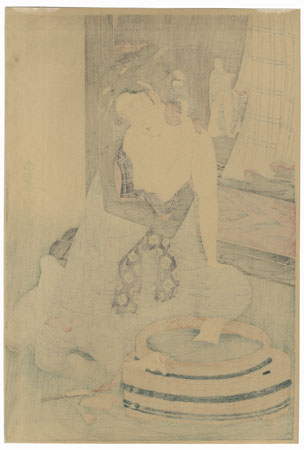 Woman Washing by a Standing Screen by Shucho (active circa 1790 - 1803)