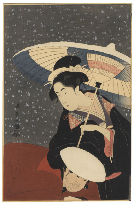 Beauty and Servant in Snow by Choki (active circa 1785 - 1805)