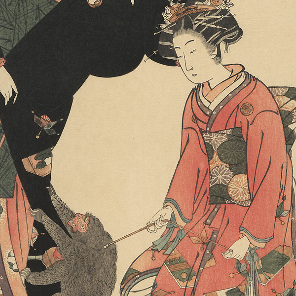 Beauties and a Pet Monkey by Koryusai (1735 - 1790)