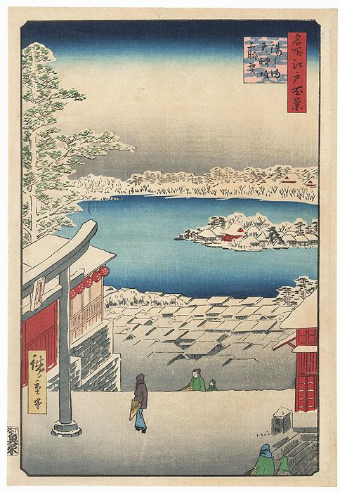 Hilltop View, Yushima Tenjin Shrine by Hiroshige (1797 - 1858)