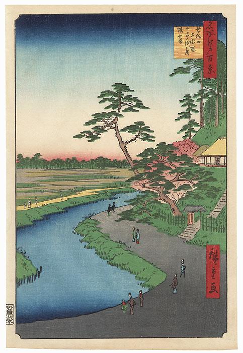 Basho's Hermitage and Camellia Hill on the Kanda Aqueduct at Sekiguchi  by Hiroshige (1797 - 1858)
